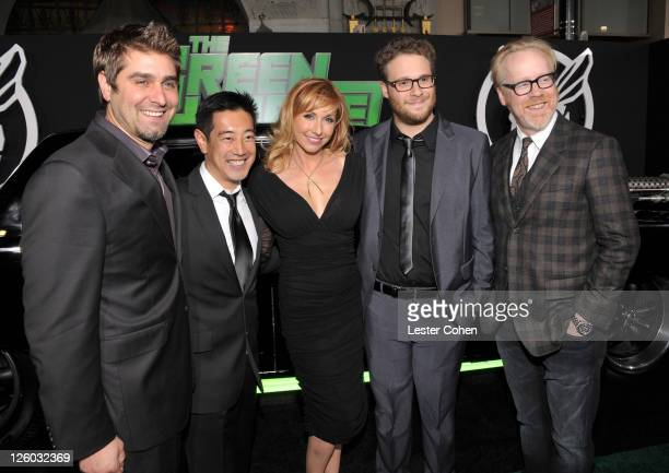 TV Personalities Tory Belleci Grant Imahara Kari Byron Executive Producer/Writer/ Actor Seth Rogen and TV Persoanlity Adam Savage arrive at The Green...