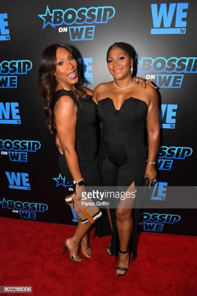 TV personalities Trina Braxton and Towanda Braxton at 'Bossip On WE' Atlanta Launch Celebration at Elevate at W Atlanta Midtown on June 27 2017 in...