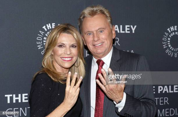 Personalities Vanna White and Pat Sajak attend The Wheel of Fortune: 35 Years as America's Game hosted by The Paley Center For Media at The Paley...