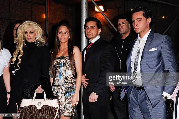 TV personalities Victoria Gotti guest John Gotti Agnello Frank Gotti Agnello and Carmine Agnello Jr enter the Sheraton Hotel on April 12 2011 in New...