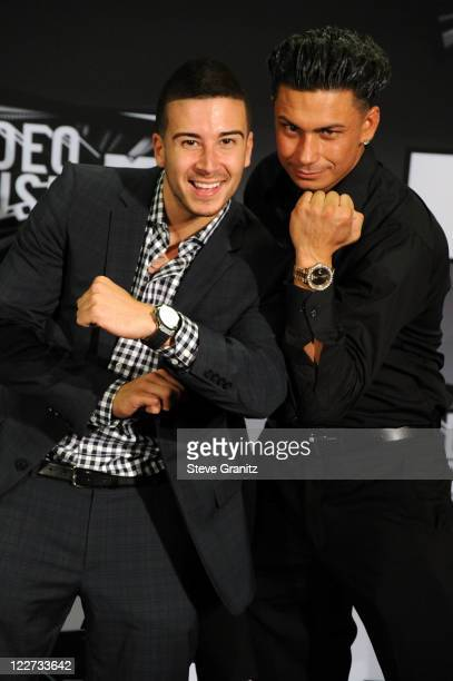 Personalities Vinny Guadagnino and DJ Pauly D poses in the press room at the The 28th Annual MTV Video Music Awards at Nokia Theatre LA LIVE on...