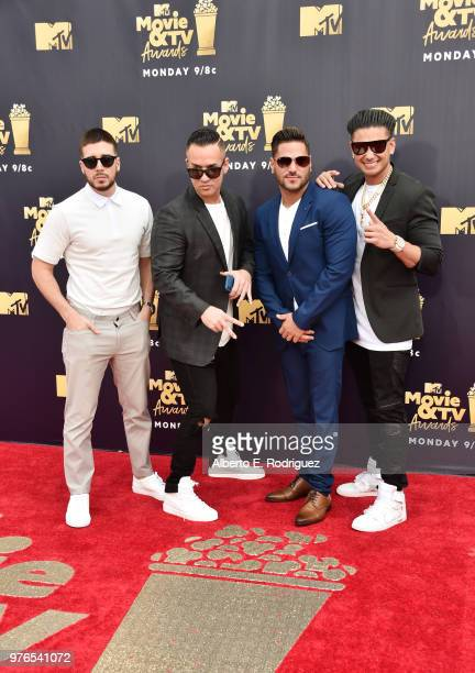 TV personalities Vinny Guadagnino Mike Sorrentino aka The Situation Ronnie OrtizMagro and Paul DelVecchio aka DJ Pauly D attend the 2018 MTV Movie...