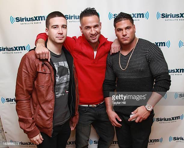 TV personalities Vinny Guadagnino Mike Sorrentino and Ronnie OrtizMagro visit SiriusXM Studio on October 10 2012 in New York City