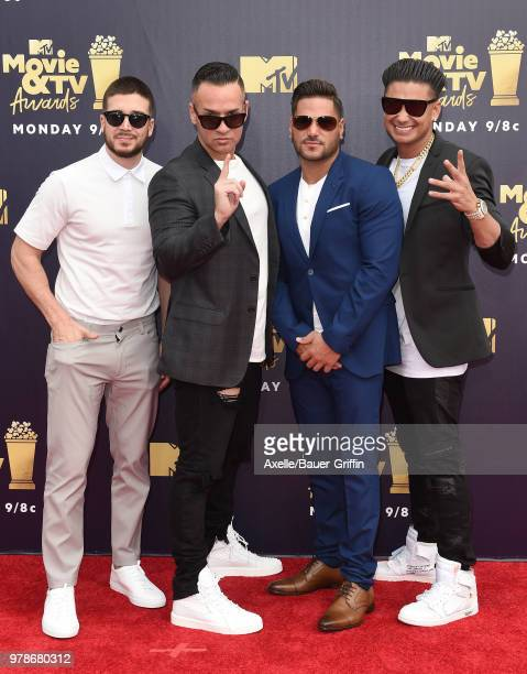 TV personalities Vinny Guadagnino Mike Sorrentino Ronnie OrtizMagro and DJ Pauly D attend the 2018 MTV Movie And TV Awards at Barker Hangar on June...