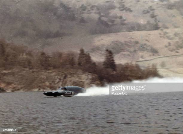 Personalities Water Speed Record Coniston Water Lake District England pic circa 1965 Donald Campbell in 'Bluebird' at speed on Coniston Water He made...