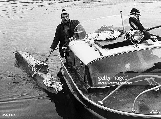 Personalities Water Speed Record Coniston Water Lake District England pic 5th January 1967 This picture shows wreckage from Donald Campbell's boat...