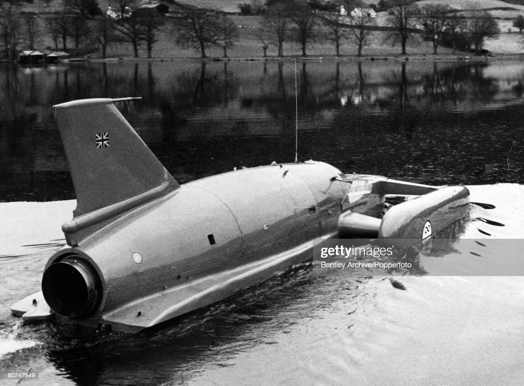 Personalities, Water Speed Record, Coniston Water, Lake District, England, pic: 4th January 1967, Donald Campbell in 'Bluebird' leaves the boathouse to make his attempt on his own water speed record, which ended tragically in his death,when the nose of the craft lifted from the water at over 300 mph and catapulted into the air before crashing down on the water, killing him instantly