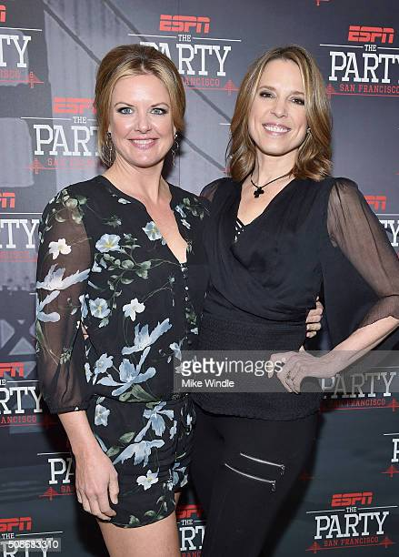 TV personalities Wendi Nix and Hannah Storm attend ESPN The Party on February 5 2016 in San Francisco California