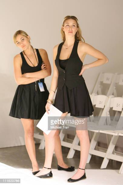 TV Personalities Whitney Port and Lauren Conrad working backstage at Orthodox Fall 2008 collection during Mercedes Benz LA Fashion Week held at...