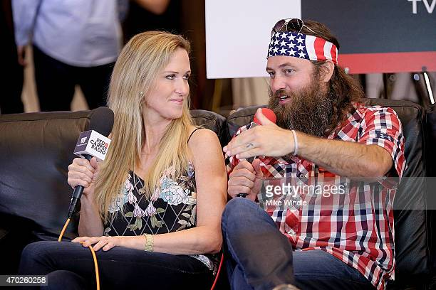 TV personalities Willie Robertson and Korie Robertson speak at the Red Carpet Radio presented by Westwood One Radio during the 50th Academy of...