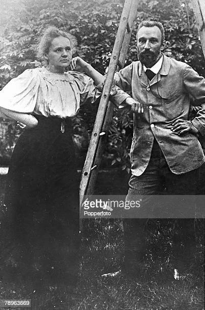 PersonalitiesMedicine Science/Health pic circa 1903 Marie Curie 18671934 pictured with her husband Pierre Curie in the garden of the Weights and...