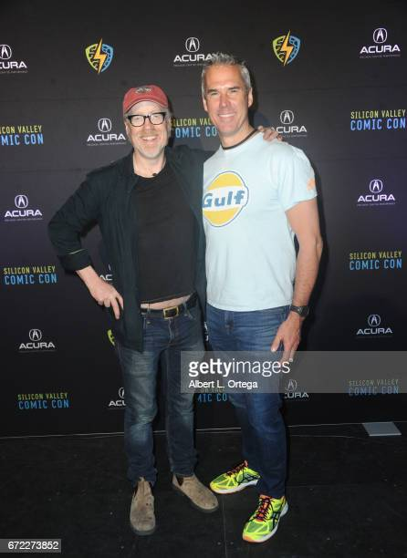 Personality Adam Savage and CEO Trip Hunter on day 3 of Silicon Valley Comic Con 2017 held at San Jose Convention Center on April 22 2017 in San Jose...