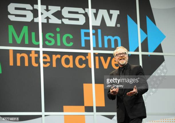 TV personality Adam Savage speaks onstage at 'The Maker Age Enlightened Views On Science Art' during the 2014 SXSW Music Film Interactive Festival at...