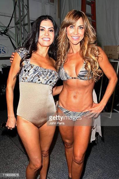Personality Adriana de Moura and Aylin Mujica pose backstage at the AZ Araujo / AG Uaclara /Aquarella/ Have Faith Swimwear show during MerecedesBenz...