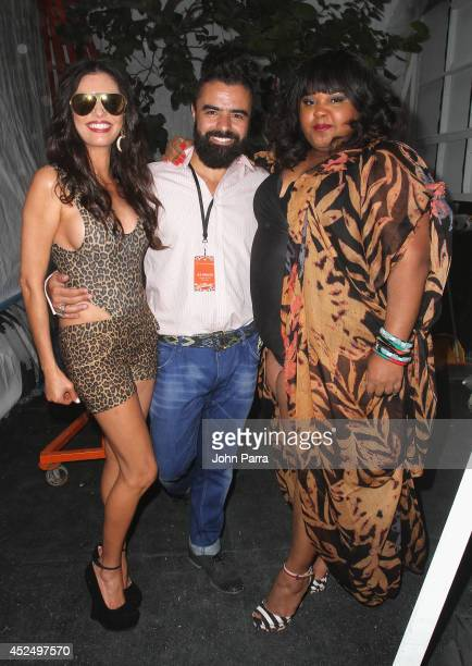 Personality Adriana de Moura Designer AZ Araujo and Brazilian actress Priscilla Marinho backstage at the AZ Araujo show during MercedesBenz Fashion...