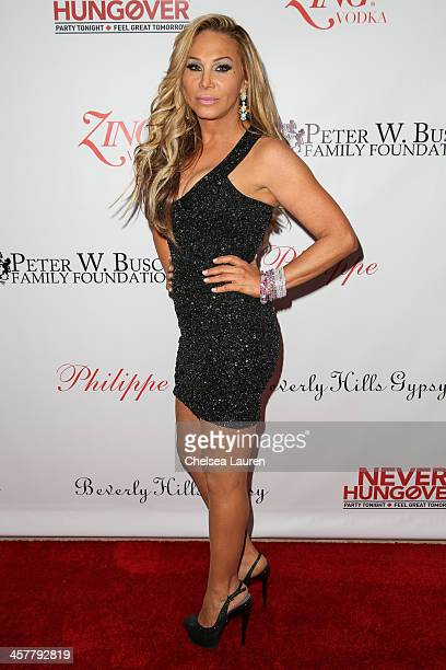 TV personality Adrienne Maloof arrives at The Maloof Foundation and Jacob's Peter W Busch family foundation holiday toy donation on December 18 2013...