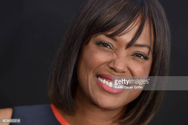 TV personality Aisha Tyler arrives at the premiere of Focus Features' 'Atomic Blonde' at The Theatre at Ace Hotel on July 24 2017 in Los Angeles...