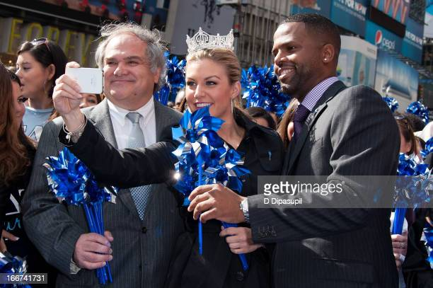 TV personality AJ Calloway Miss America 2013 Mallory Hagan and Prevent Child Abuse America president and CEO James M Hmurovich attend the Pinwheels...