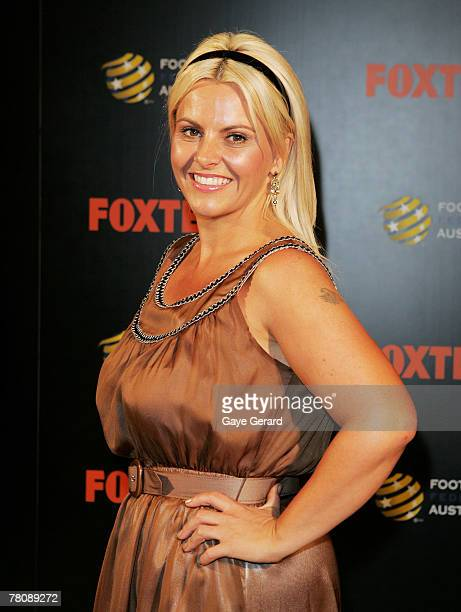TV personality AJ Rochester arrives at the Foxtel Is Football Foxtel and FFA hosted party in honour of David Beckham at Cafe Sydney on November 26...