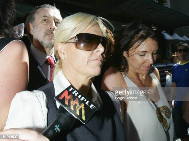 TV personality Ajay Rochester leaves court with her lawyer Geoffrey Meadows having faced welfare fraud charges at Downing Centre Local Court on...