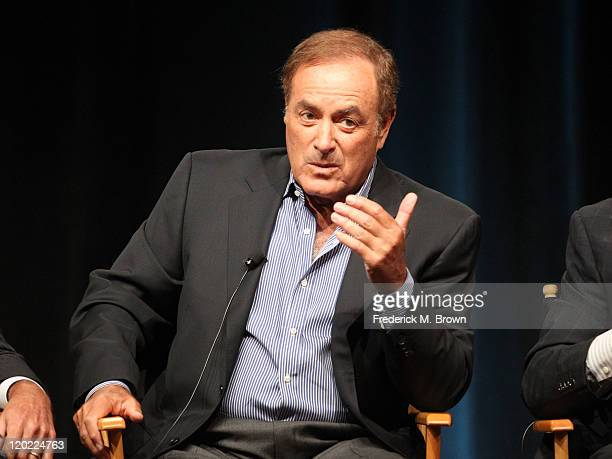 TV personality Al Michaels speaks during the 'Sunday Night Football' and 'Super Bowl XLVI' panel during the NBC Universal portion of the 2011 Summer...