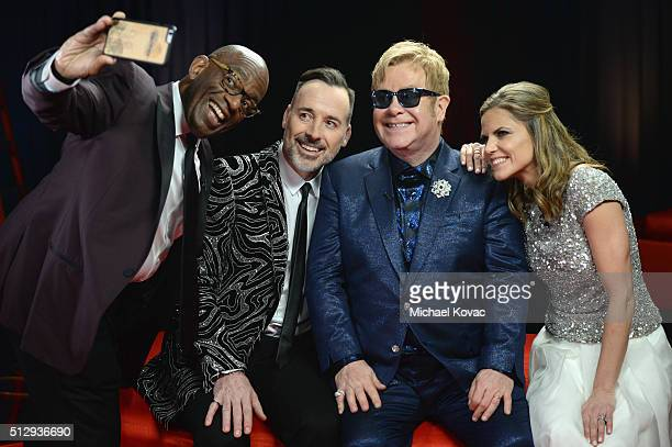 TV personality Al Roker cohosts David Furnish and Sir Elton John and tv personality Natalie Morales attend the 24th Annual Elton John AIDS...