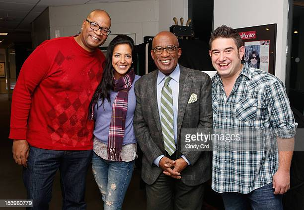 TV personality Al Roker poses with SiriusXM Hits 1 'The Morning Mash Up' hosts Stanley T Nicole Biggins and Ryan Sampson at the SiriusXM Studio on...