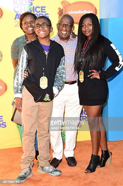 TV personality Al Roker with Nicholas Albert Roker Deborah Roberts and Leila Roker attend Nickelodeon's 28th Annual Kids' Choice Awards held at The...