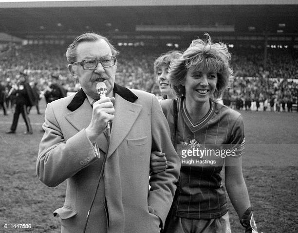 TV personality Alan Whicker makes a charity draw before the match