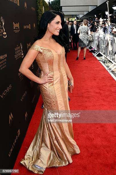 TV personality Alejandra Oraa walks the red carpet at the 43rd Annual Daytime Emmy Awards at the Westin Bonaventure Hotel on May 1 2016 in Los...