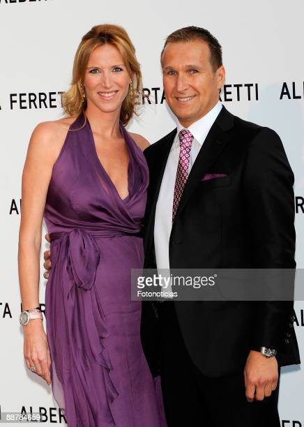 TV personality Alejandra Prat and Juan Manuel Alcaraz attend the Alberta Ferretti new fragrance launch cocktail party held at the Italian...