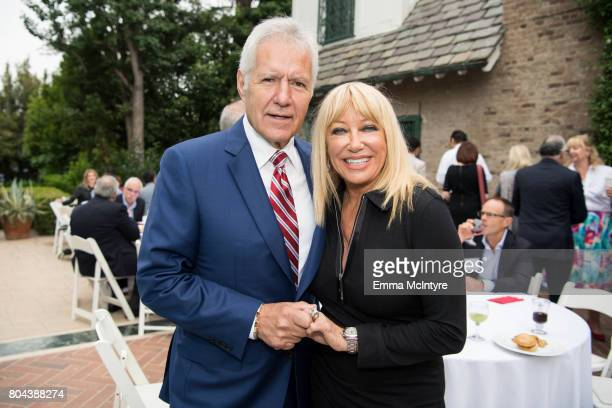 TV personality Alex Trebek and actress Suzanne Somers attend the 150th anniversary of Canada's Confederation at the Official Residence of Canada on...