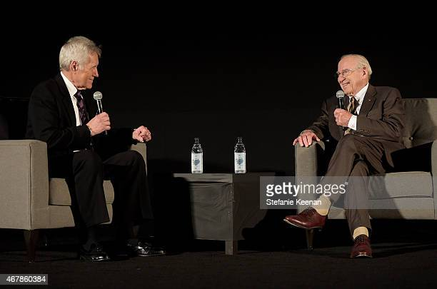 TV personality Alex Trebek and astronaut Jim Lovell speak before the screening of 'Apollo 13' during day two of the 2015 TCM Classic Film Festival on...