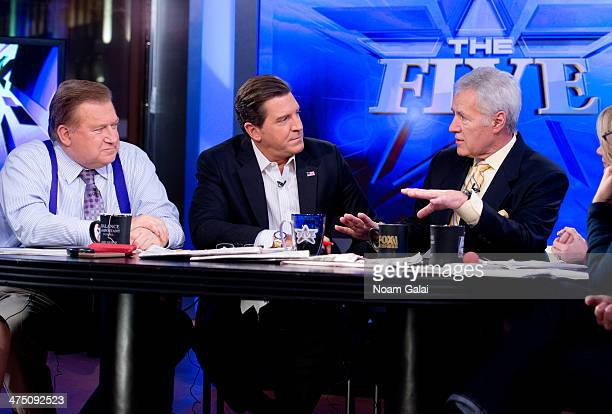 TV personality Alex Trebek and hosts of 'The Five' Bob Beckel and Eric Bolling attend FOX News' 'The Five' at FOX Studios on February 26 2014 in New...