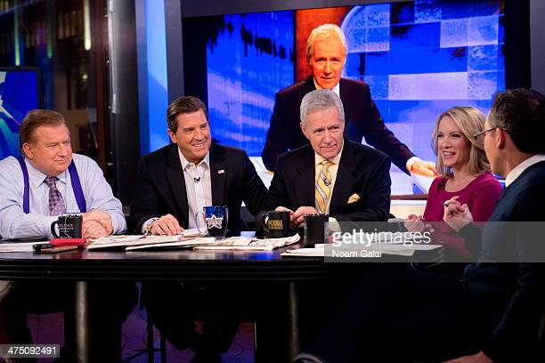 TV personality Alex Trebek and hosts of 'The Five' Bob Beckel Eric Bolling Dana Perino and Greg Gutfeld attend FOX News' 'The Five' at FOX Studios on...