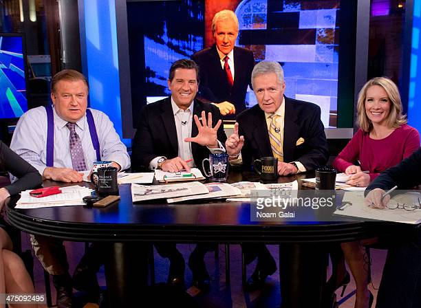 TV personality Alex Trebek and hosts of 'The Five' Bob Beckel Eric Bolling and Dana Perino attend FOX News' 'The Five' at FOX Studios on February 26...