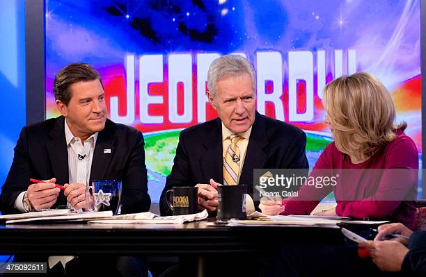 TV personality Alex Trebek and hosts of 'The Five' Eric Bolling and Dana Perino attend FOX News' 'The Five' at FOX Studios on February 26 2014 in New...