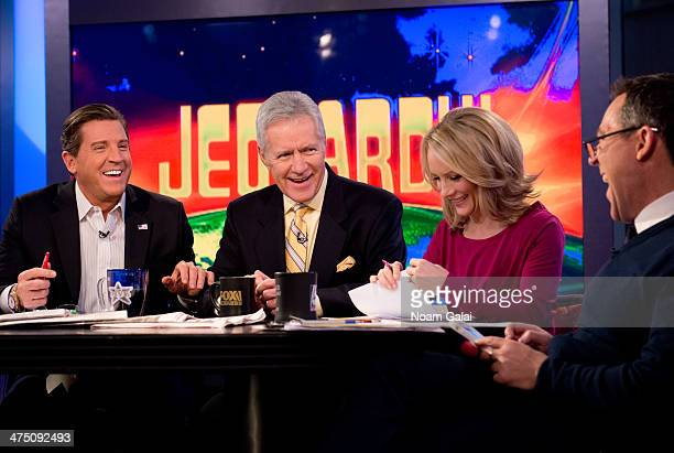 TV personality Alex Trebek and hosts of 'The Five' Eric Bolling Dana Perino and Greg Gutfeld attend FOX News' 'The Five' at FOX Studios on February...