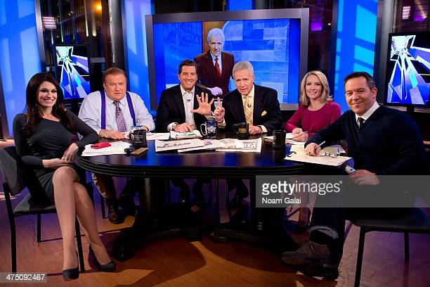 TV personality Alex Trebek and hosts of 'The Five' Kimberly Guilfoyle Bob Beckel Eric Bolling Dana Perino and Greg Gutfeld attend FOX News' The Five...