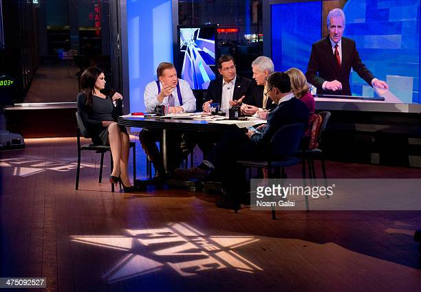 TV personality Alex Trebek and hosts of 'The Five' Kimberly Guilfoyle Bob Beckel Eric Bolling Dana Perino and Greg Gutfeld attend FOX News' 'The...