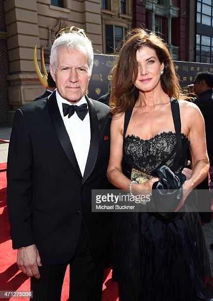TV personality Alex Trebek and Jean Currivan Trebek attend The 42nd Annual Daytime Emmy Awards at Warner Bros Studios on April 26 2015 in Burbank...