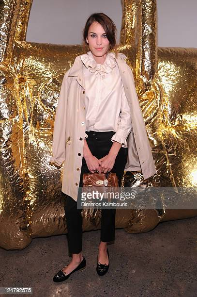 Personality Alexa Chung attends the Mulberry 40th Anniversary celebration on the Rooftop at Skylight West on September 12, 2011 in New York City.