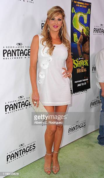 TV personality Alexis Bellino arrives to the Los Angeles Opening Night of 'Shrek The Musical' at the Pantages Theatre on July 13 2011 in Hollywood...
