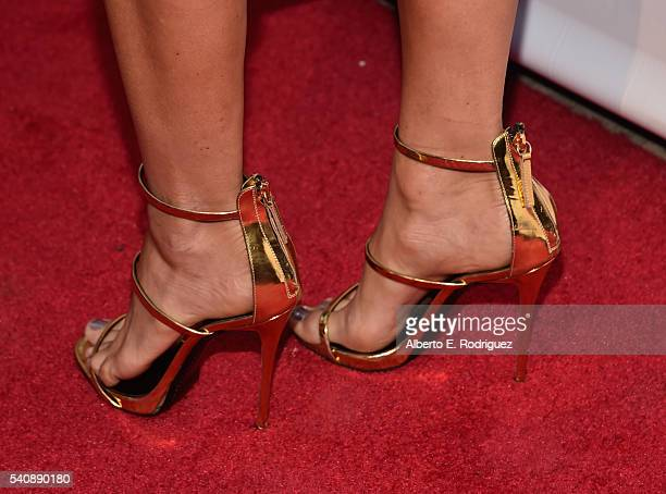 TV personality Alexis Bellino shoe detail attends the premiere party for Bravo's The Real Housewives of Orange County 10 year celebration at...