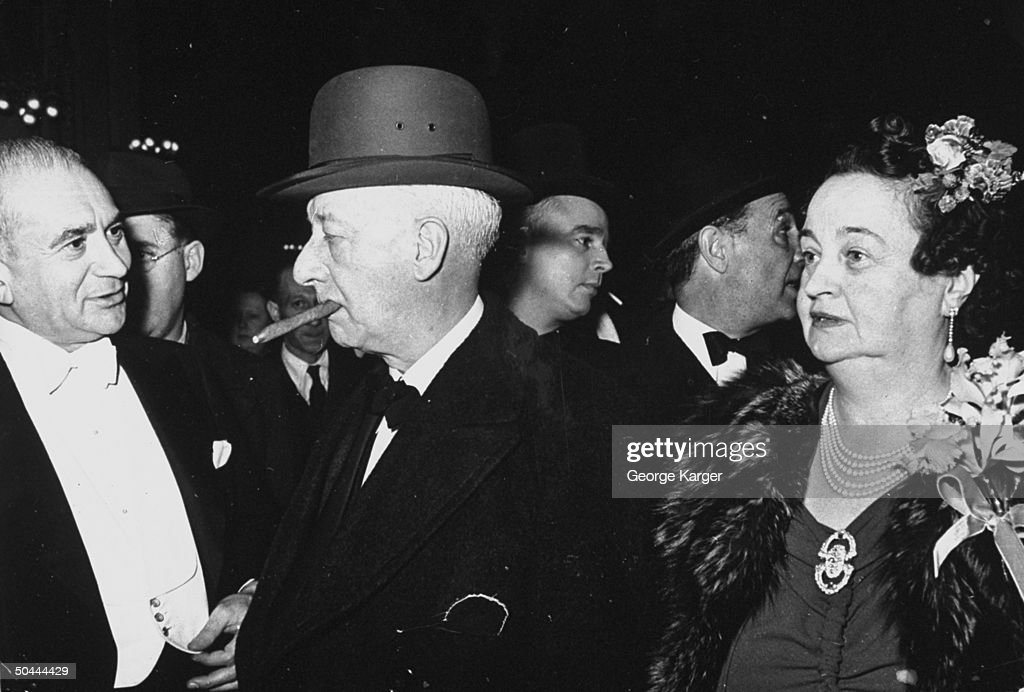 Personality Alfred E Smith And His Wife Attending The Opening Of The Play Life With