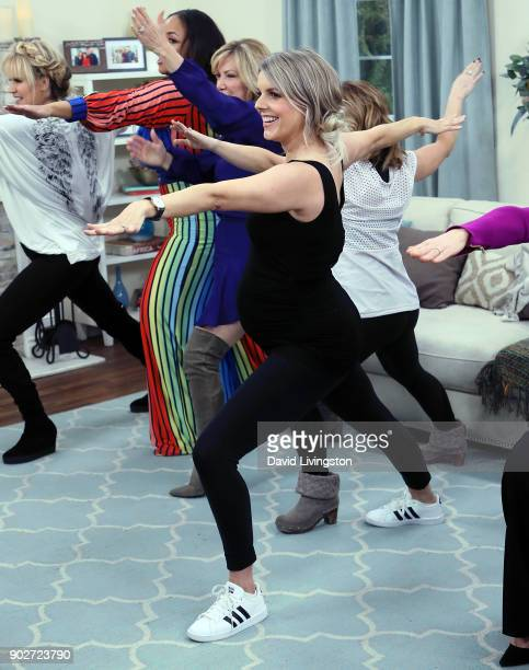TV personality Ali Fedotowsky exercises with other show members on Hallmark's Home Family at Universal Studios Hollywood on January 8 2018 in...