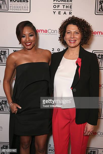 """TV personality Alicia Quarles and Universal Pictures Chairman Donna Langley attend the 2016 Will Rogers """"Pioneer of the Year"""" Dinner Honoring Donna..."""