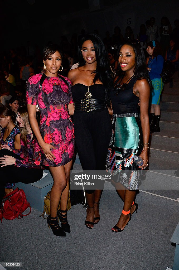 TV personality Alicia Quarles, former Miss USA Nana Meriwether, and DJ Kiss attend the Nanette Lepore show during Spring 2014 Mercedes-Benz Fashion Week at The Stage at Lincoln Center on September 11, 2013 in New York City.