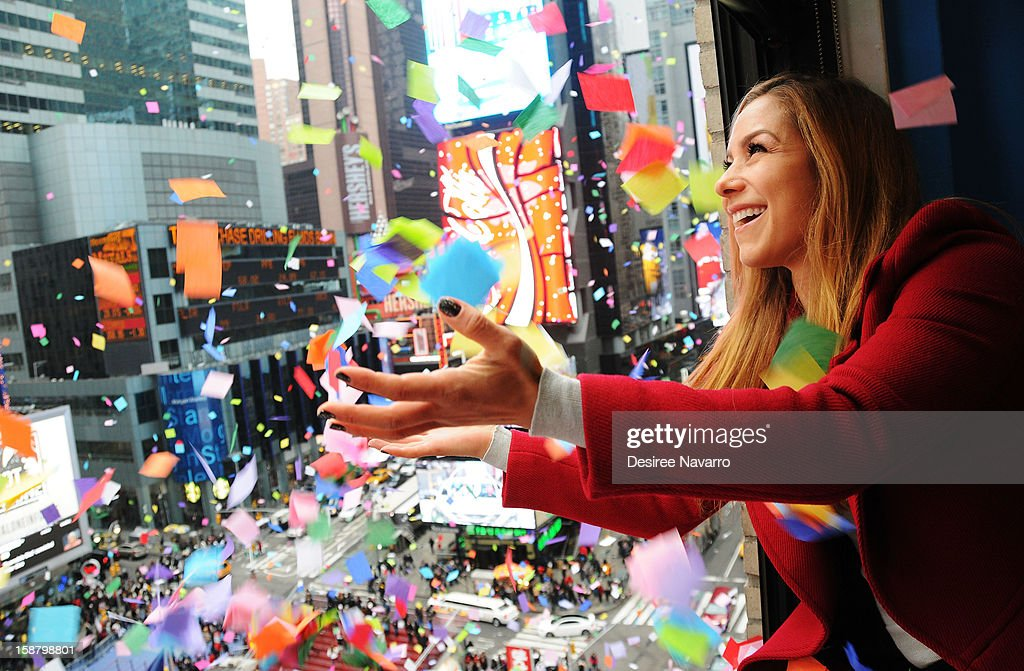 TV Personality Allison Hagendorf particpates in the New Year's Eve 2013 Confetti Airworthiness Test at Times Square Alliance Building on December 29, 2012 in New York City.