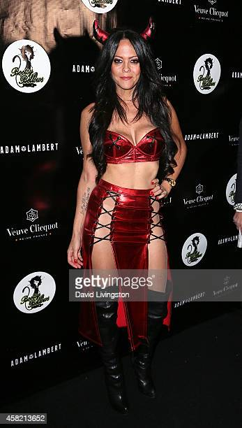 TV personality Allison Melnick attends Adam Lambert's 2nd Annual Halloween Bash at Bootsy Bellows on October 31 2014 in West Hollywood California